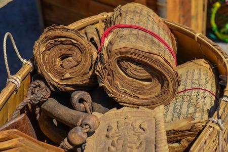 Inle Lake, Myanmar - Feb 6, 2018. Ancient Burmese books for sale at the souvenir shop. Stock Photo
