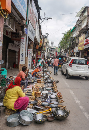Delhi, India - Jul 27, 2015. Street market in Delhi, India. Delhi city proper population was over 11 million, the second-highest in India.
