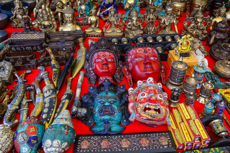 Leh, India - Jul 15, 2015. Souvenirs at flea market in Leh, India. Leh is a town in the Indian state of Jammu and Kashmir. Stock Photo