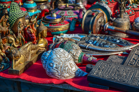 Leh, India - Jul 15, 2015. Souvenirs at flea market in Leh, India. Leh is a town in the Indian state of Jammu and Kashmir. Редакционное