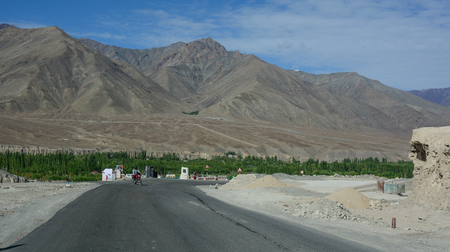 Leh, India - Jul 15, 2015. Mountain road in Leh, India. Leh is a town in the Indian state of Jammu and Kashmir.