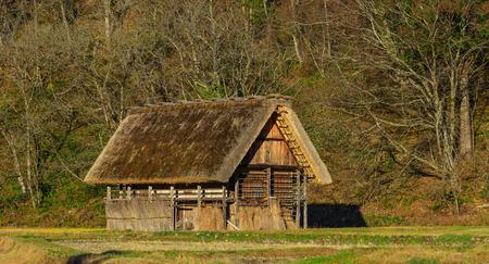 A wooden house at Shirakawa-go Historic Village in Gifu, Japan. Shirakawago was registered as a UNESCO World Heritage Site in 1995.
