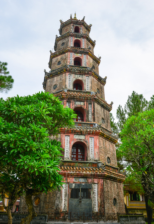 Hue, Vietnam - Jul 21, 2018. View of Thien Mu Pagoda in Hue, Vietnam. Hue is a city in central Vietnam that was the national capital from 1802 to 1945. Редакционное