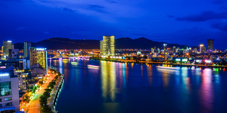 Da Nang, Vietnam - Jul 22, 2018. Night view of Da Nang, Vietnam. Da Nang is a coastal city in central Vietnam known for its sandy beaches and history.