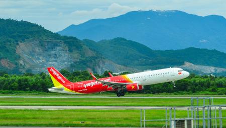 Da Nang, Vietnam - Jul 23, 2018. An Airbus A321 airplane of Vietjet Air taking-off from Da Nang International Airport (DAD).