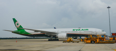 Saigon, Vietnam - Jul 23, 2018. A Boeing 777-300ER airplane of EVA Air docking at Tan Son Nhat Airport (SGN) in Saigon (Ho Chi Minh City), Vietnam. Editorial
