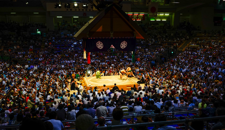 Tokyo, Japan - Jul 13, 2015. Sumo fighters and sumo wrestlers training in sumo stables preparing for the sumo tournament in Tokyo, Japan.