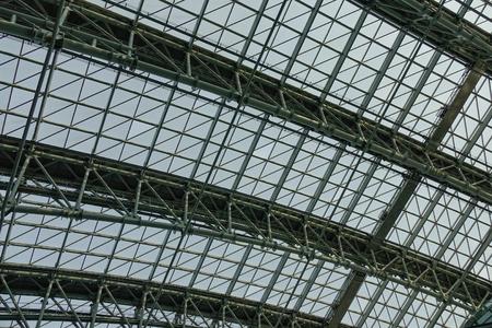 Seoul, South Korea - Sep 21, 2016. Transparent glass ceiling dome interior of Incheon Airport in Seoul, South Korea.