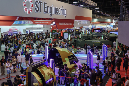 Singapore - Feb 11, 2018. People visit the aviation equipment exhibition in Changi, Singapore.