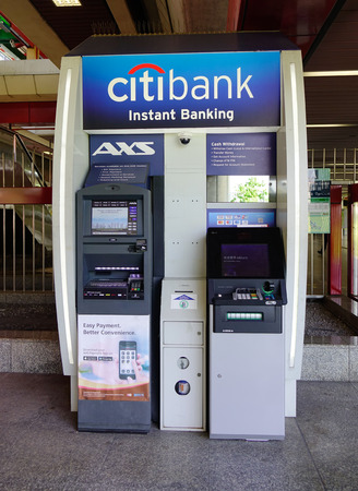 Singapore - Feb 4, 2018. ATM machines of Citibank in Singapore. Singapore referred to as the Lion City, is a sovereign city-state in Southeast Asia.
