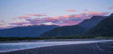Mountain scenery at sunrise in South Island, New Zealand.