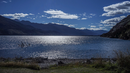 Lake scenery of Haast Junction in South Island, New Zealand.