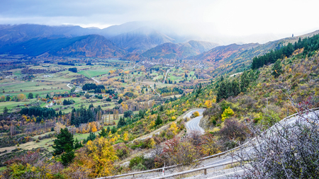 Mountain scenery at autumn in South Island, New Zealand.