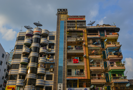 Yangon, Myanmar - Feb 1, 2017. Old apartments in Yangon, Myanmar. Yangon is Myanmar largest city and its most important commercial centre.