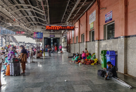 Ajmer, India - Nov 5, 2017. People waiting at railway station in Ajmer, India. India Railway is the fourth-largest railway network in the world by size. Editorial