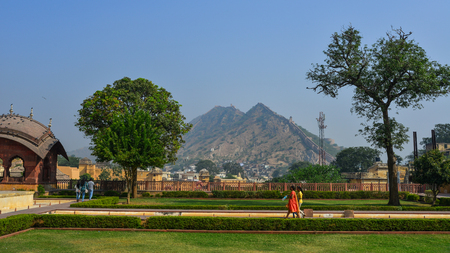 Jaipur, India - Nov 3, 2017. Amber Fort with the garden in Jaipur, India. Nostalgic Amber Fort is one of the most well-known and most-visited forts in India.