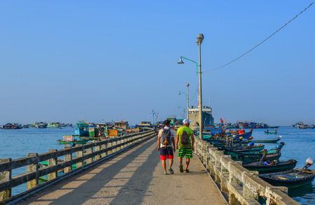 Kien Giang, Vietnam - Dec 12, 2017. Bridge of main pier in Poulo Panjang (Tho Chau Island), South Western Vietnam. Éditoriale