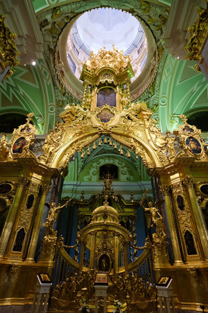 St. Petersburg, Russia - Oct 14, 2016. Interior of Cathedral of Saints Peter and Paul in St. Petersburg, Russia. The church is the oldest landmark in Saint Petersburg. Redakční