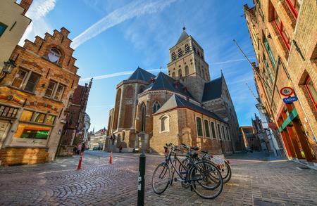 Bruges, Belgium - Oct 5, 2018. Historical centre of Bruges (Brugge), Belgium. Bruges is distinguished by its canals, cobbled streets and medieval buildings.
