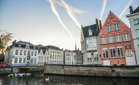 Historical centre of Bruges (Brugge), Belgium. Bruges is distinguished by its canals, cobbled streets and medieval buildings.