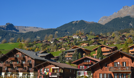 Grindelwald, Switzerland - Oct 21, 2018. Mountain town in Grindelwald, Switzerland. Grindelwald was one of the first tourist resorts in Europe. Éditoriale