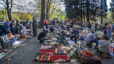 Tbilisi, Georgia - Sep 23, 2018. Dry Bridge Market in Tbilisi, Georgia. Dry Bridge Bazaar is the biggest flea market in Tbilisi.