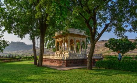 Jodhpur, India - Nov 6, 2017. The Jaswant Thada cenotaph in Jodhpur, India. It was built by Maharaja Sardar Singh of Jodhpur State in 1899.