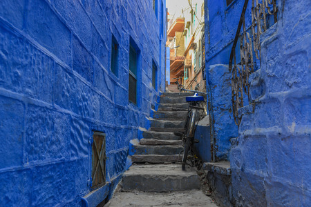 Blue houses at ancient town in Jodhpur, India.