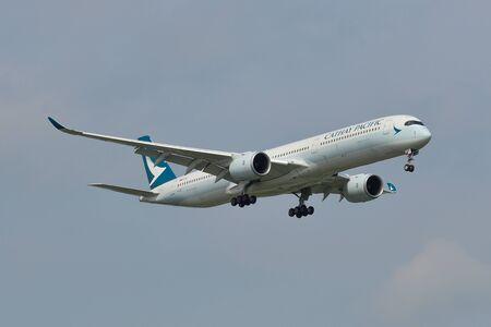 Bangkok, Thailand - Sep 17, 2018. An Airbus A350-1000 airplane of Cathay Pacific landing at Bangkok Suvarnabhumi International Airport (BKK).