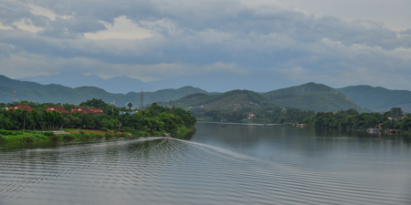 Beautiful landscape of Huong River in Hue, Vietnam.