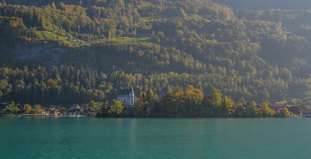 Beautiful scenery of Lake Brienz, Switzerland. The turquoise Lake Brienz is set amid the spectacular mountain scenery.