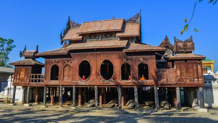 Nyaungshwe, Myanmar - Feb 8, 2017. Shwe Yan Pyay Monastery in Nyaungshwe, Myanmar. The monastery is an amazing 19th century red teak decorative structure.