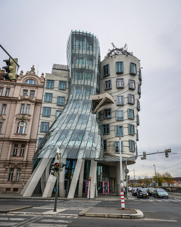 Prague, Czech - Oct 27, 2018. Dancing House in Prague, also known as Fred and Ginger. It is building in Prague riverfront designed by Frank Gehry.