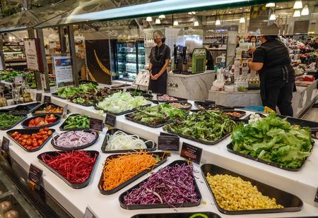 Bangkok, Thailand - Apr 20, 2018. Salad bar with fresh vegetables at supermarket in Bangkok, Thailand.