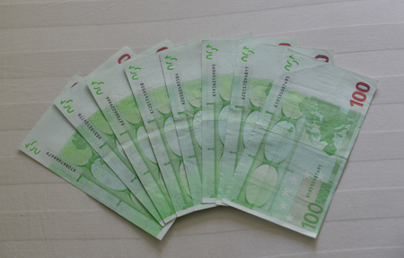 Euro billnote (EUR) background. The currency of the Euro area and institutions was issued in 2002. 写真素材
