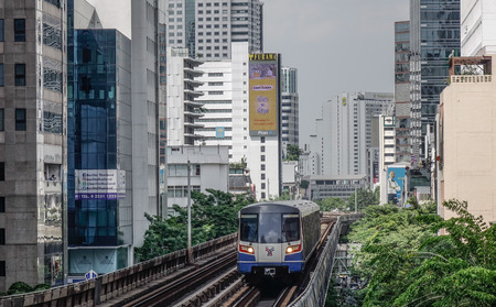 Bangkok, Thailand - Sep 16, 2018. BTS train (skytrain) in Bangkok, Thailand. Bangkok is the heart of the country investment and development.