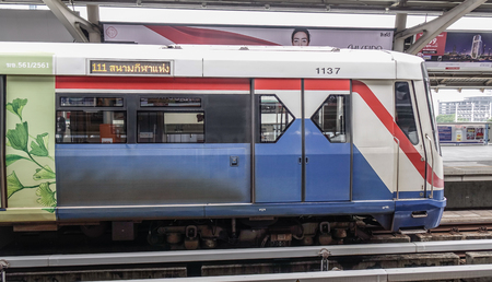 Bangkok, Thailand - Sep 16, 2018. BTS train (skytrain) in Bangkok, Thailand. Bangkok is the heart of the country investment and development.