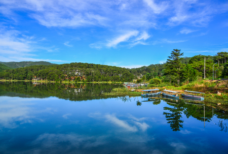 Pine forest with Lake Tuyen Lam at spring time in Dalat, Vietnam. 스톡 콘텐츠 - 114953500