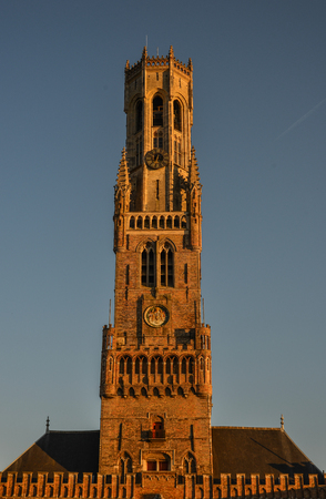 The Belfry of Bruges (Belfort van Brugge), Belgium. It is a medieval bell tower (82m) in the centre of Bruges.