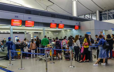 Saigon, Vietnam - Dec 4, 2018. Check-in Counters of Tan Son Nhat Airport in Saigon, Vietnam. Tan Son Nhat is the busiest international airport in Vietnam.