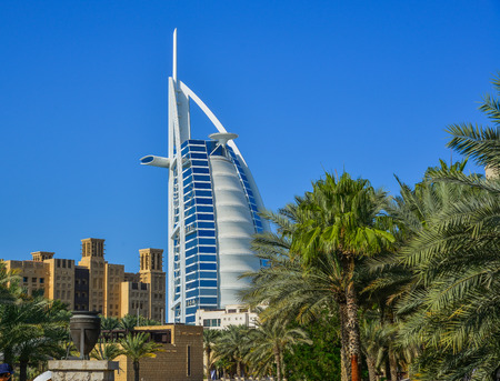 Dubai, UAE - Dec 9, 2018. View of Burj Al Arab hotel from Madinat Jumeirah. Madinat is a luxury resort which includes hotels and souk covering an area over 40 hectars.