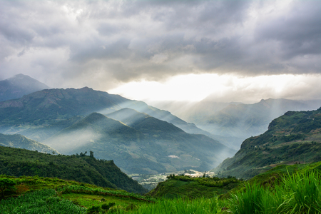 Mountain landscape (Mount Fansipan) at sunset in Northern Vietnam.