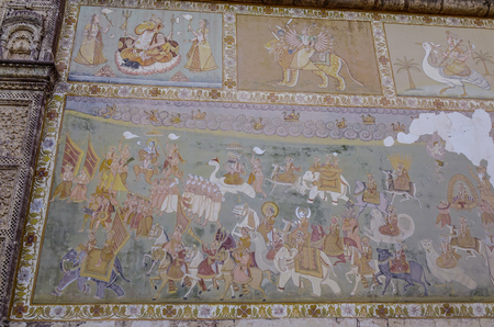 Jodhpur, India - Nov 7, 2017. Wall paintings of Mehrangarh Fort in Jodhpur, India. Built in around 1460, the fort is situated 410 feet above the city.