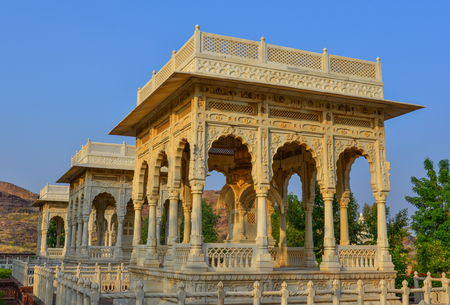 Jodhpur, India - Nov 6, 2017. Part of Jaswant Thada in Jodhpur, India. Jaswant Thada was built by Maharaja Sardar Singh of Jodhpur State in 1899.