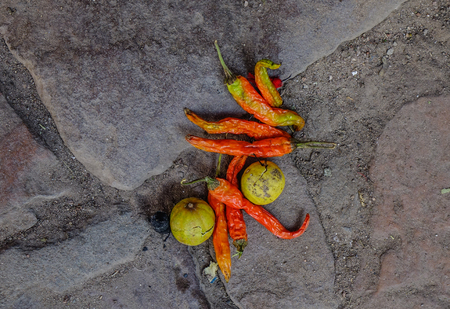 Spices (lime and chilli) on road as a donation to Godness in Jodhpur, India. Stock Photo