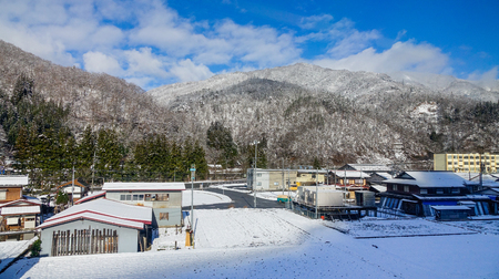 Takayama, Japan - Dec 30, 2015. Mountain town at countryside in Takayama, Japan. Takayama is a city in Japan mountainous Gifu Prefecture. 報道画像