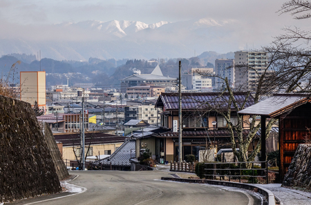 Takayama, Japan - Dec 30, 2015. Old town at winter in Takayama, Japan. Takayama is a city in Japan mountainous Gifu Prefecture.