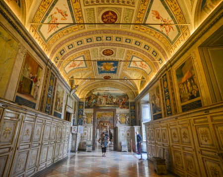 Vatican - Oct 16, 2018. Inside the Vatican Museums. In the museum, showcasing the most important masterpieces of Renaissance art in the world.