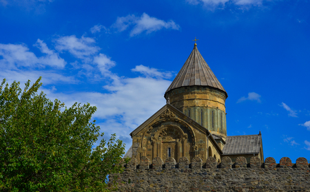 Svetitskhoveli Cathedral of Mtskheta, Georgia. It is an Eastern Orthodox cathedral, the second largest church building in Georgia.
