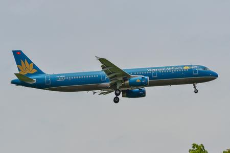 Bangkok, Vietnam - Sep 17, 2018. An Airbus A321 airplane of Vietnam Airlines landing at Suvarnabhumi Airport (BKK) in Bangkok, Thailand.
